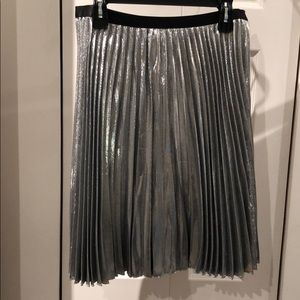 NWT - DVF Heavyn Pleated Metallic Skirt